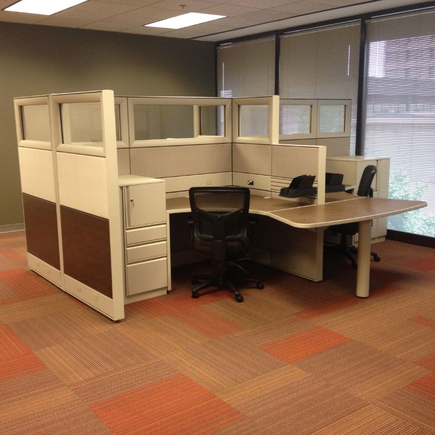 Module office cubicles with built-in storage drawers